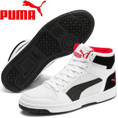 Puma Rebound LayUp Mesh White / Black / Red High Top Basketball Boots Trainers