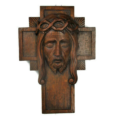 Hand Carved Wood Art Jesus Christ Head of Thorns Sculpture Crucifix Oak Gorgeous