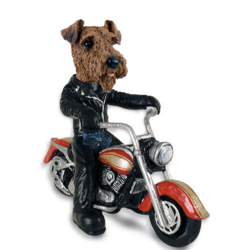 Airedale on a Motorcycle Stone Resin Figurine Statue