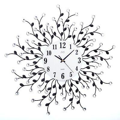 Große Wanduhr Uhr ca. 60 cm Metalluhr Rankenuhr mit Kristallen NEU