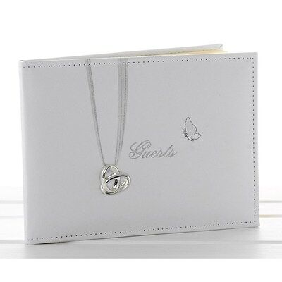 White Silver Heart Butterfly Ring Detail Wedding Guest Book Boxed 71144