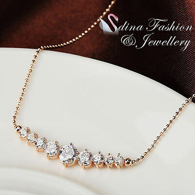 18K Rose Gold Plated Exquisite 9 x Simulated Diamond Stick Statement Necklace