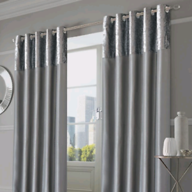 Crushed Velvet Band Faux Silk Curtains