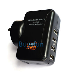 NEW AU Plug Black 2A 4-Port USB AC Wall Charger For Google Nexus 7 Nexus 10