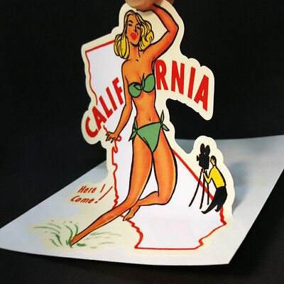 California Pinup Vintage Style Travel Decal, Vinyl Sticker, Luggage Label