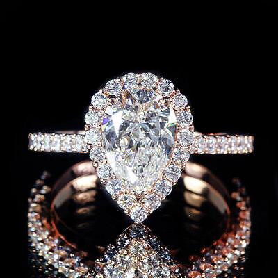 1.71ct GIA Pear Shape Diamond Pave Engagement Ring 18K Rose Gold I/VVS2