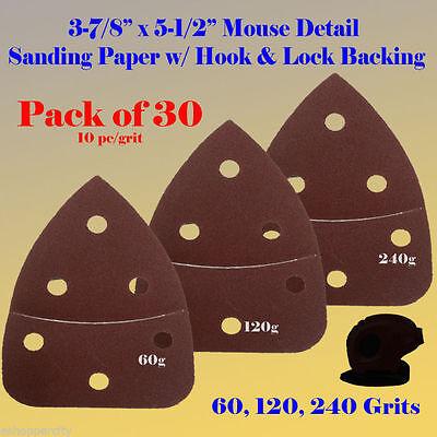 30X Mouse Detail Sander Sandpaper Hook & Loop 240 Grit For Black & Decker Ryobi