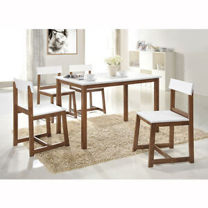Tribeca White on Walnut Compact 5 Piece Dinette Set