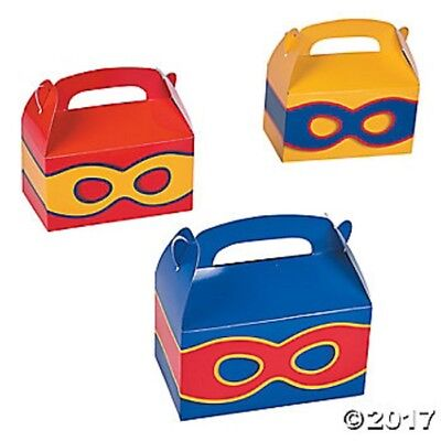 6 Superhero Action Figure Treat Goody Candy Boxes Birthday Party Favors