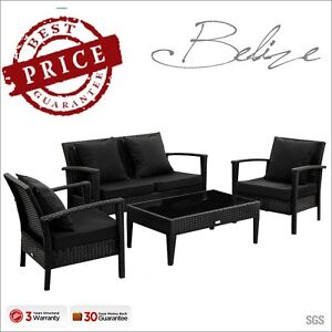 Luxo-Black-4pc-PE-Wicker-Outdoor-Sofa-Lounge-Table-Chair-Furniture-Set-Setting