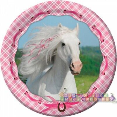 HEART MY HORSE LARGE PAPER PLATES (8) ~ Birthday Party Supplies Dinner - Horse Paper Plates