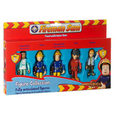 New Fireman Sam 5 Articulated Figures Sam Tom Nurse Flood Norman Penny Set