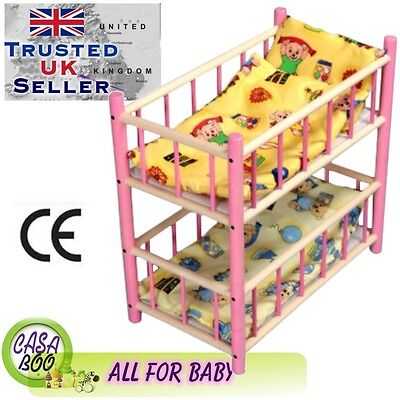 Wooden toy bunk bed cot  for dolls with bedding  preschool girl's toy GIFT NEW