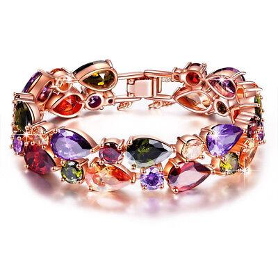 Amethyst Rose Gold Bracelet - Mona Lisa Natural Peridot Amethyst Morganite Rose Gold Plated Wedding Bracelets