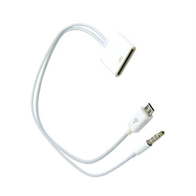 30 Pin iPhone 4 to Micro USB audio Adapter Cable Converter for Samsung White