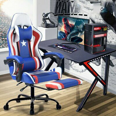 Gaming Chair Office Racing Ergonomic Leather Recliner Footrest Super Hero