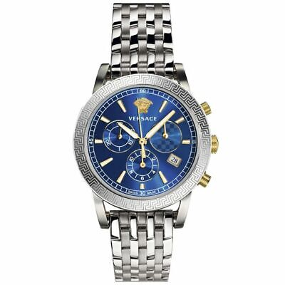 VERSACE MENS $1495 SILVER BLUE DIAL CHRONOGRAPH SPORT TE SWISS WATCH VELT00219