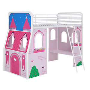 Loft bed kids girls with desk and castle tent
