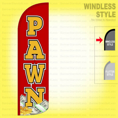 Pawn - Windless Swooper Flag 3x11.5 Ft Tall Feather Banner Shop Sign Rq