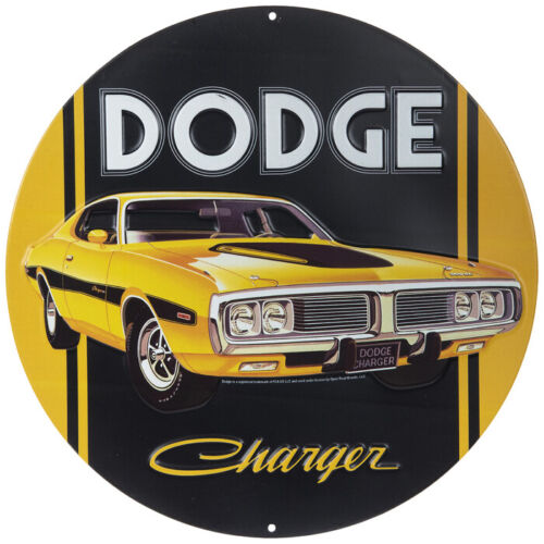 Yellow & Black Dodge Charger Metal Sign Round Vintage Mancave Garage Gearhead