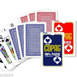 2 Games 52 cards BRIDGE COPAG 100% plastic Regular bluee Red 0483 0513