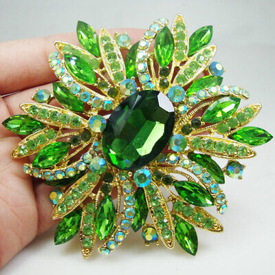 Green Womens Brooch (Gold Tone Green Oval Flower Woman Brooch Pin Rhinestone Crystal Party Accessorie )