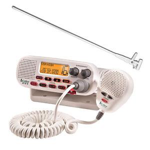 Cobra VHF White Marine Radio 25w +Fibreglass Antenna + Cable NEW Quality White