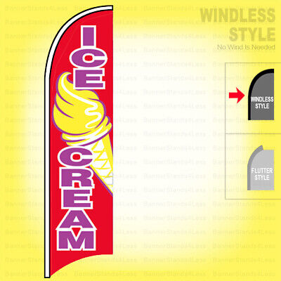 Ice Cream - Windless Swooper Flag 2.5x11.5 Ft Feather Banner Sign Rb