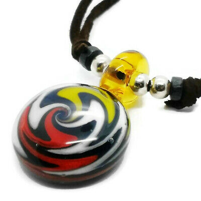 Glass pendant necklace blown striped coral handmade charm yellow red -