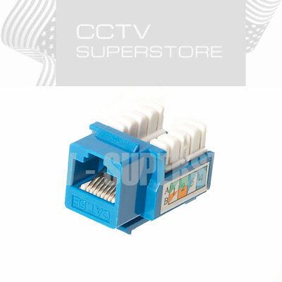 10 pack lot Keystone Jack Cat5e Blue Network Ethernet 8P8C RJ45 110 Punchdown