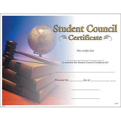 Student Council Award Certificate, Pack of - Student Council Certificate