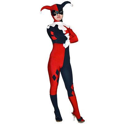 Adult Harley Quinn Costumes Ladies Superhero Clown Cosplay Halloween Full Zentai - Halloween Ladies Clown Costumes