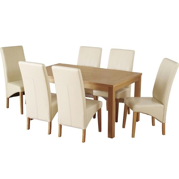 Belgravia Dining Table With 6 Cream Leather Chairs