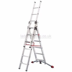 Hailo 6 rung combi ladders with adjustable feet