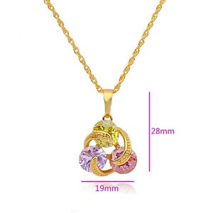 Deluxe 9K Gold Filled Crystal Ladies Pendant+Necklace,E1040