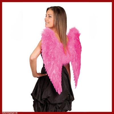 Rosa Flügel Kostüm (FARBIGE FEDERFLÜGEL Märchen Feen Elfen Pinke Rosa Flügel Kostüm Party Deko 52806)