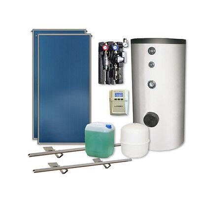 Thermische Solaranlage Komplettpaket 2 Kollektoren Speicher HE Pumpe Solarpaket