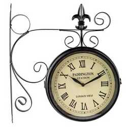 Vintage Double Sided Roman Numeral Station Wall Clock Retro Home Decor