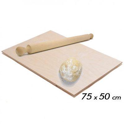 Asse Per Impastare Spianatoia In Legno Con Mattarello Pasta Pizza 75x50 cm
