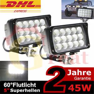 2 x 45W LED Scheinwerfer Arbeitsscheinwerfer 12V 24V für Offroad Lkw kfz 27w/48w