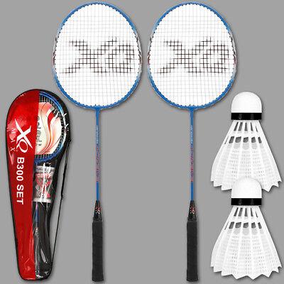 Badminton 2 Schläger Federball Tasche Badmintonschläger Sport Federballspiel Set