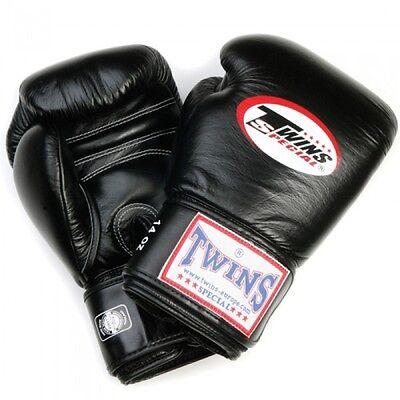 Twins Boxhandschuhe 18Oz schw. Leder, Muay Thai, Kickboxen, Boxen, MMA,Thaiboxen
