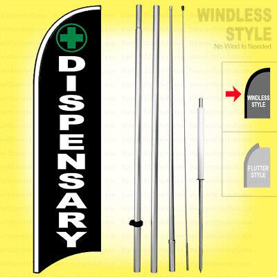 Dispensary - Windless Swooper Flag Kit 15 Feather Banner Marijuana Sign Kb-h