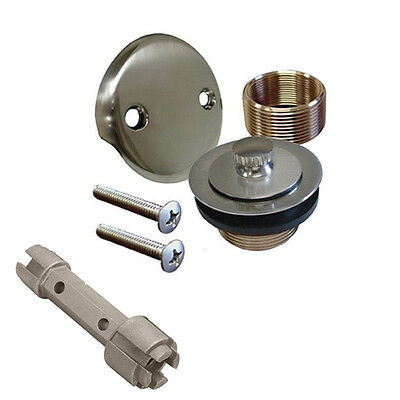 Brushed Nickel Bathtub Tub Drain Assembly Shower Overflow Kit and Removal Tool