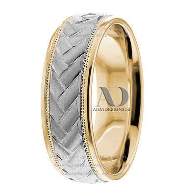 - Two Tone Wedding Band in 10K Gold Modern Design Milgrain Mens / Womens Ring 7mm
