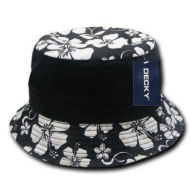3fe7e0704928e Black   White Floral Fisherman s Fishing Bucket Hiking Cotton Polo Hat Sz  L XL