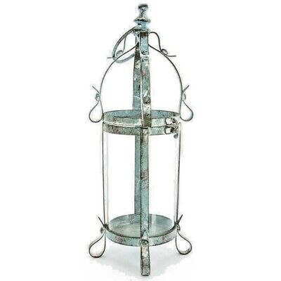Blue Metal & Glass Lantern  Antique Style Shabby Chic Rustic Decor!