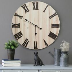 Oversized Cottage Farmhouse Large Wall Clock Roman Numeral Plank Style Rustic 28