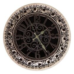 EXQUISITE ROUND CARVED DECORATIVE WOODEN WALL CLOCK ASH-TREE WOOD FOR HOME DECOR