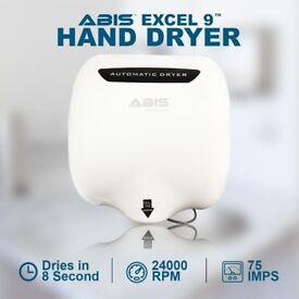 ABIS Excel-9 Hand Dryer (White), Sleek Hand Dryer, Restaurants, Schools, Bars, Clubs